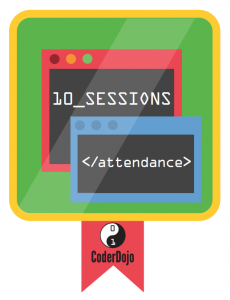 10 Sessions Attendance CoderDojo Badge