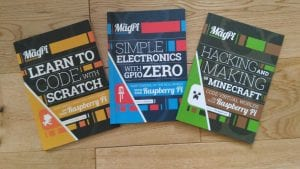 Three MagPi Essentials publications on Scratch, GPIO Zero and Minecraft